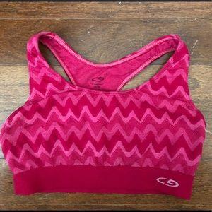 Pink and Red Chevron Champion Sports Bra